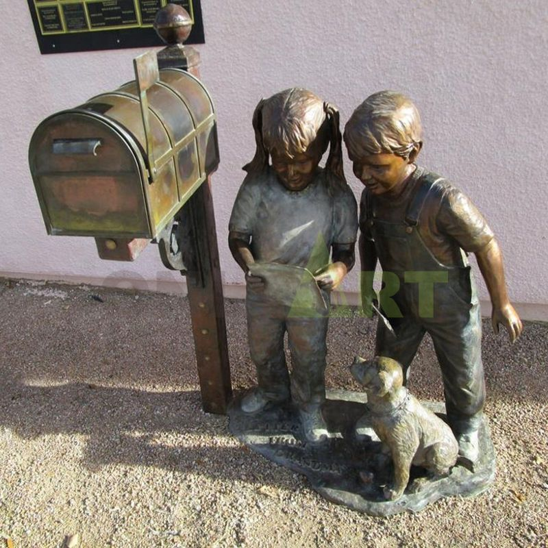 The little girl next to the mailbox, the boy, and the dog sent the mail together