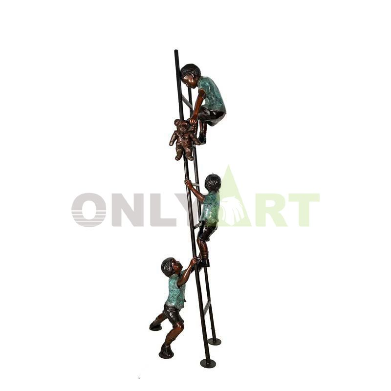 Let's climb the ladder together, child sculpture