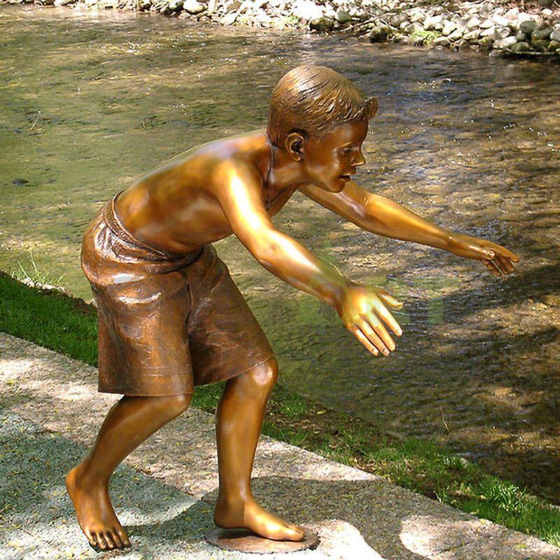 Little boys run and hug you, child sculpture