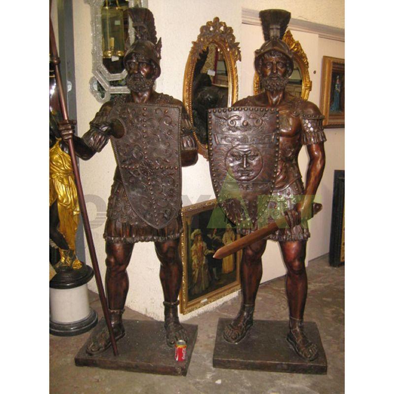 Spartan upper body helmet bronze interior sculpture