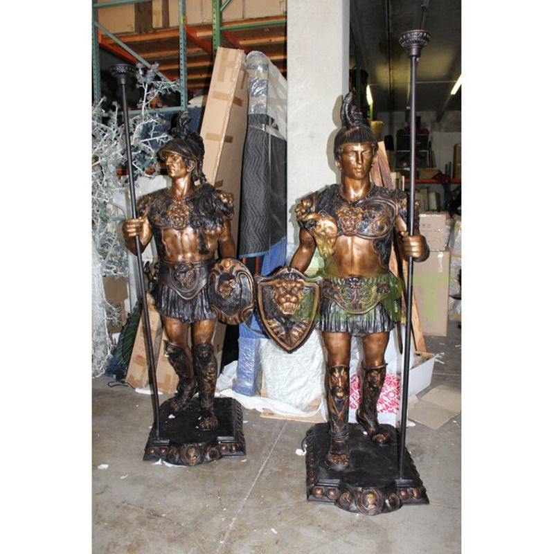 Two in full armor foot soldier statues