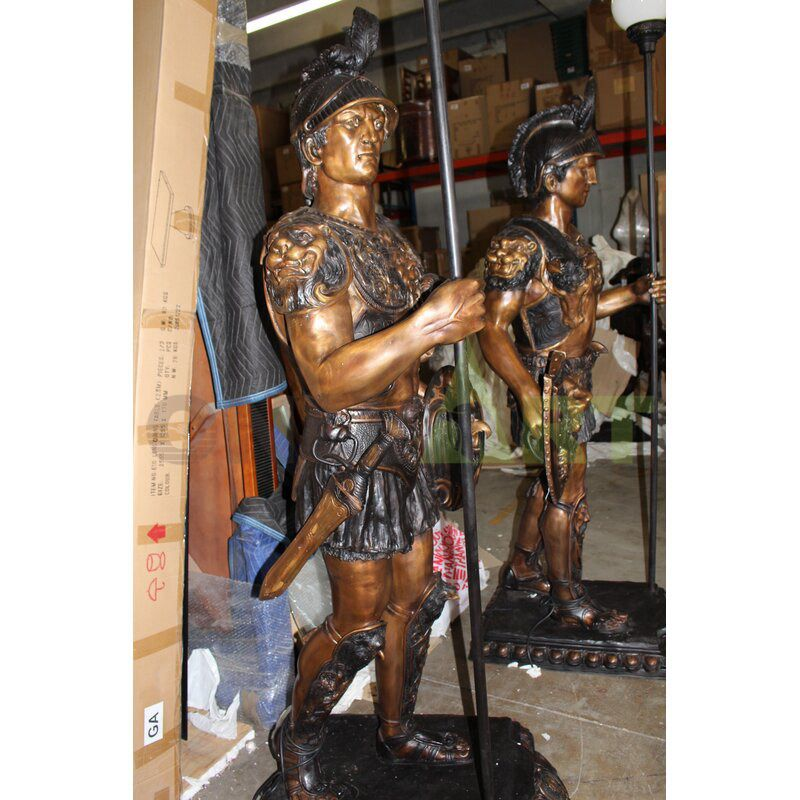 Lifelike bronze sculpture of a middle-aged Roman infantry soldier