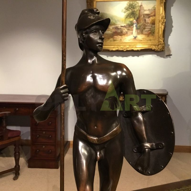 A life-size statue of a naked Roman warrior