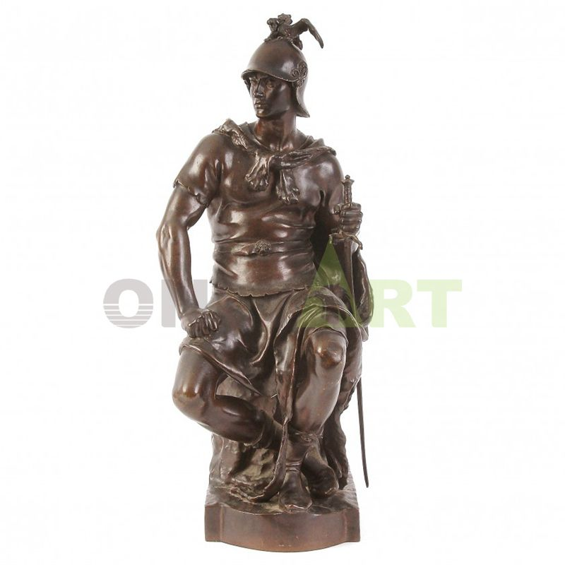 Tilt your head and look elsewhere at a Roman warrior in combat fatigues