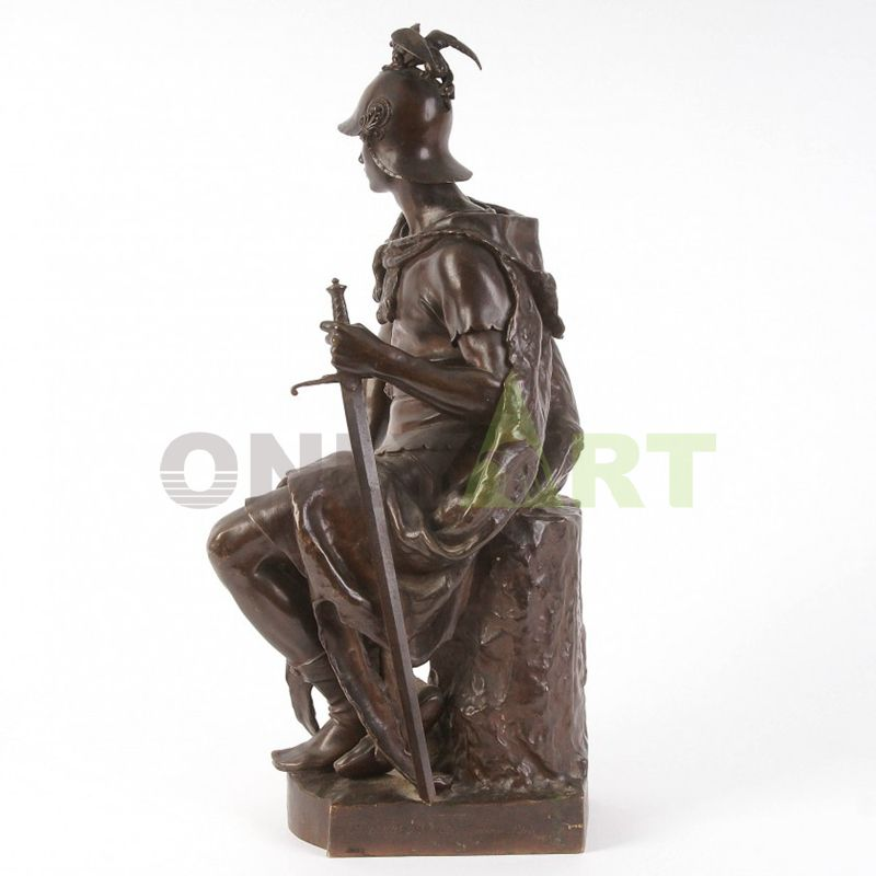 A Roman soldier sitting on a stone
