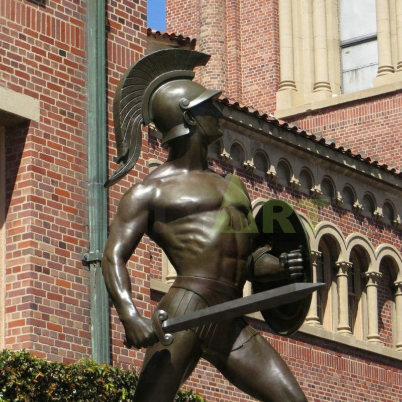 A statue of a Roman soldier with combative  behavior