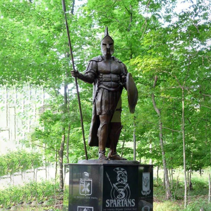 A statue of a Roman soldier in the shade of a tree