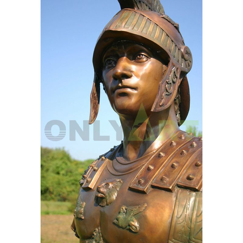 Sculpture of a tight-lipped Roman soldier detailing a helmet