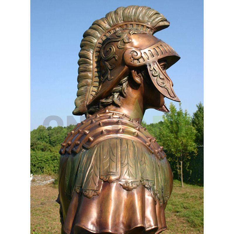 Sculpture of a Roman soldier's helmet like a horse's head