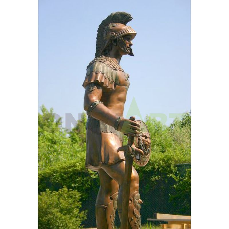 A sturdy statue of a Roman soldier dressed simply for battle