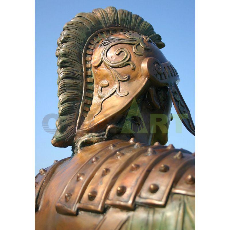 Bronze sculptures of Roman warriors' helmets