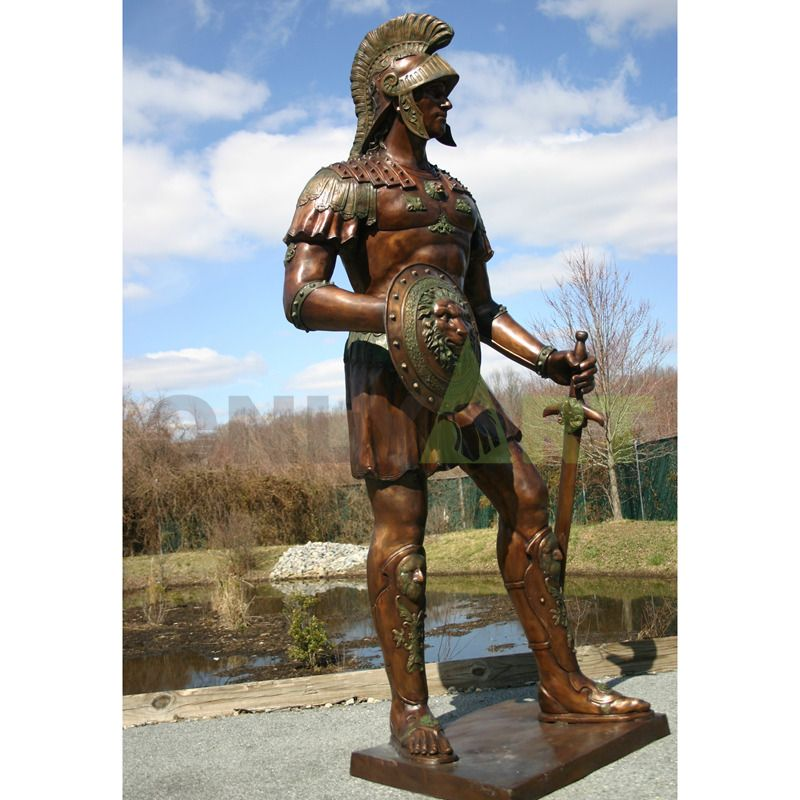 A statue of a Roman infantry soldier in a small skirt