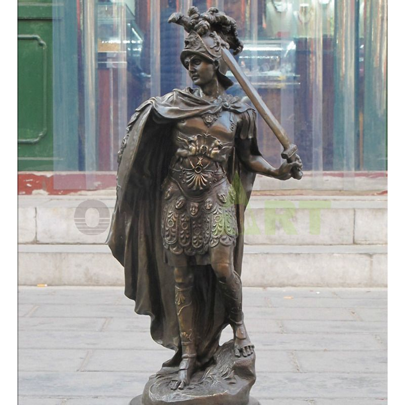 A Roman soldier wearing a cloak and holding a sword