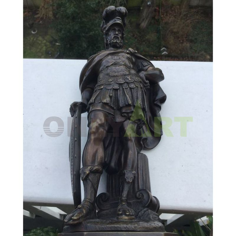 A statue of a Roman soldier with a long beard and full uniform