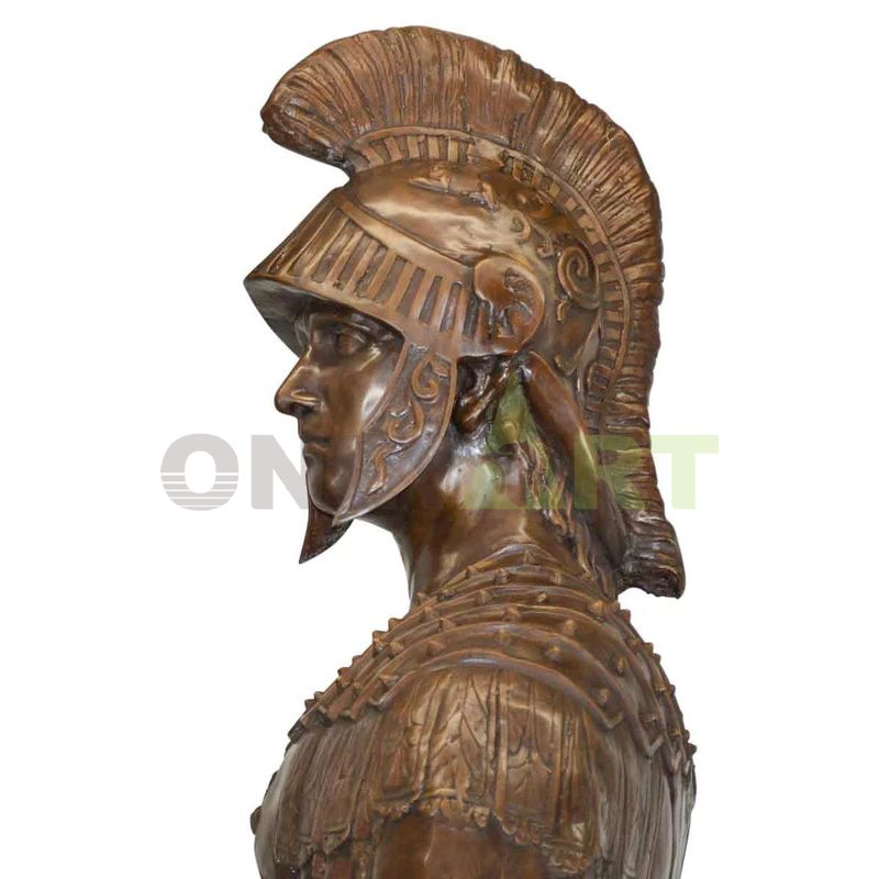 Roman warrior bust helmet sculpted in detail