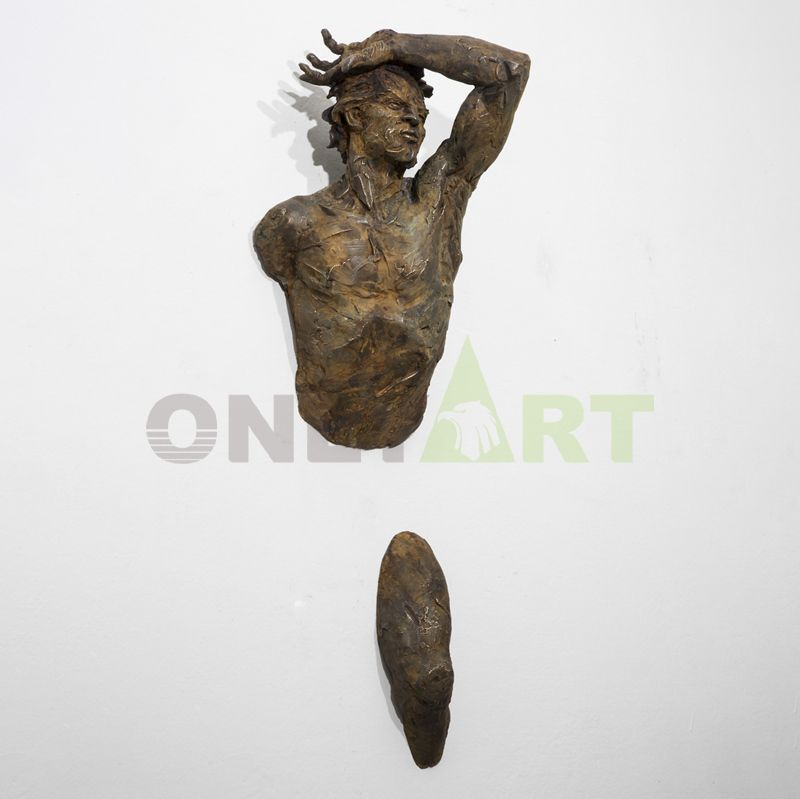 Indoor hot sell life size art deco bronze man wall sculpture statue matteo pugliese sculpture