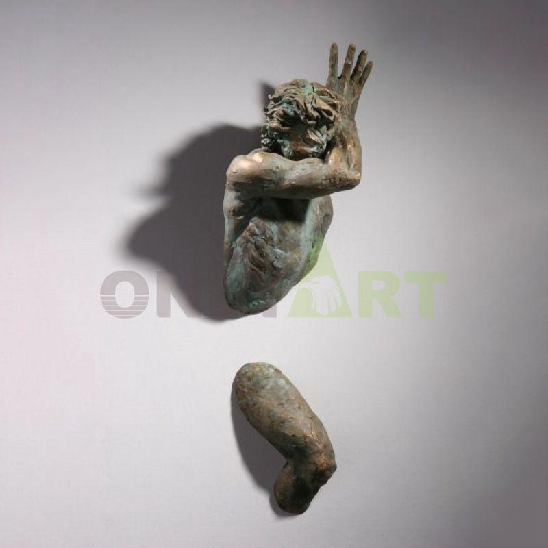 Life size art deco bronze man wall sculpture matteo pugliese for sale