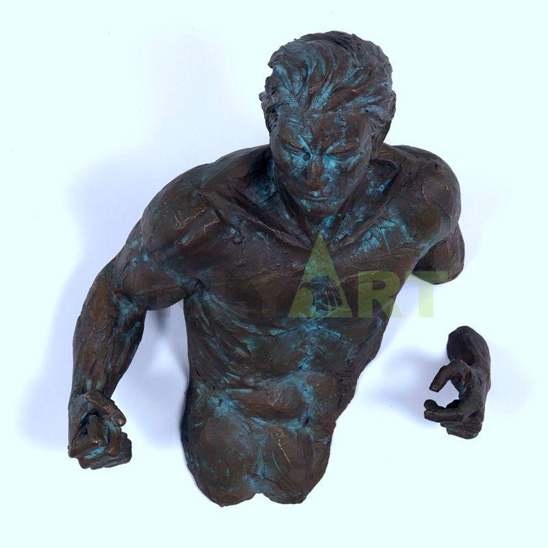 Creative Semi-wall Sculpture Bronze Matteo Pugliese for Sale