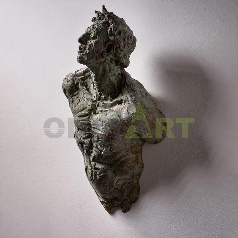 Creative half wall man's struggle bronze Matteo Pugliese for sale