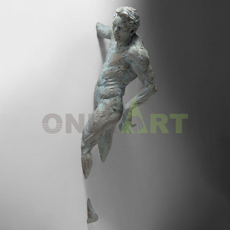 Matteo Pugliese Sculpture Reproduction Man On Wall Art Sculpture