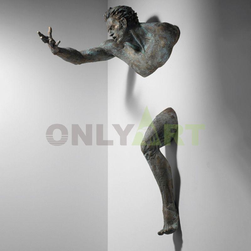 Life size art deco bronze man wall sculpture statue matteo pugliese for sale