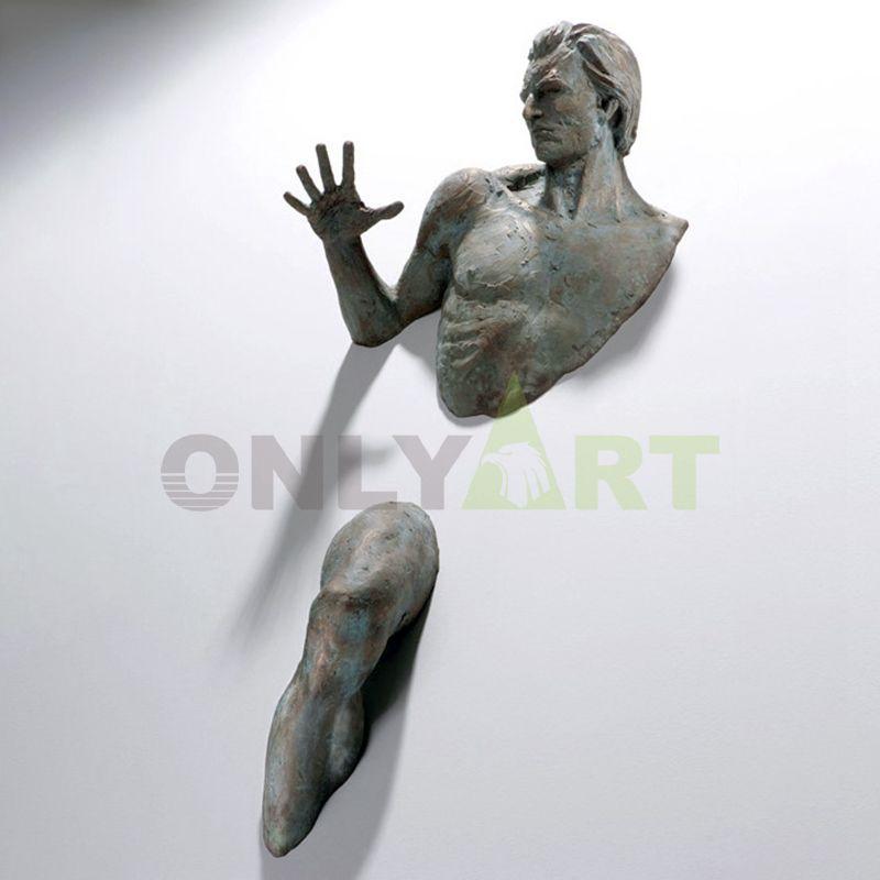 Life size art deco bronze man wall sculpture statue matteo pugliese