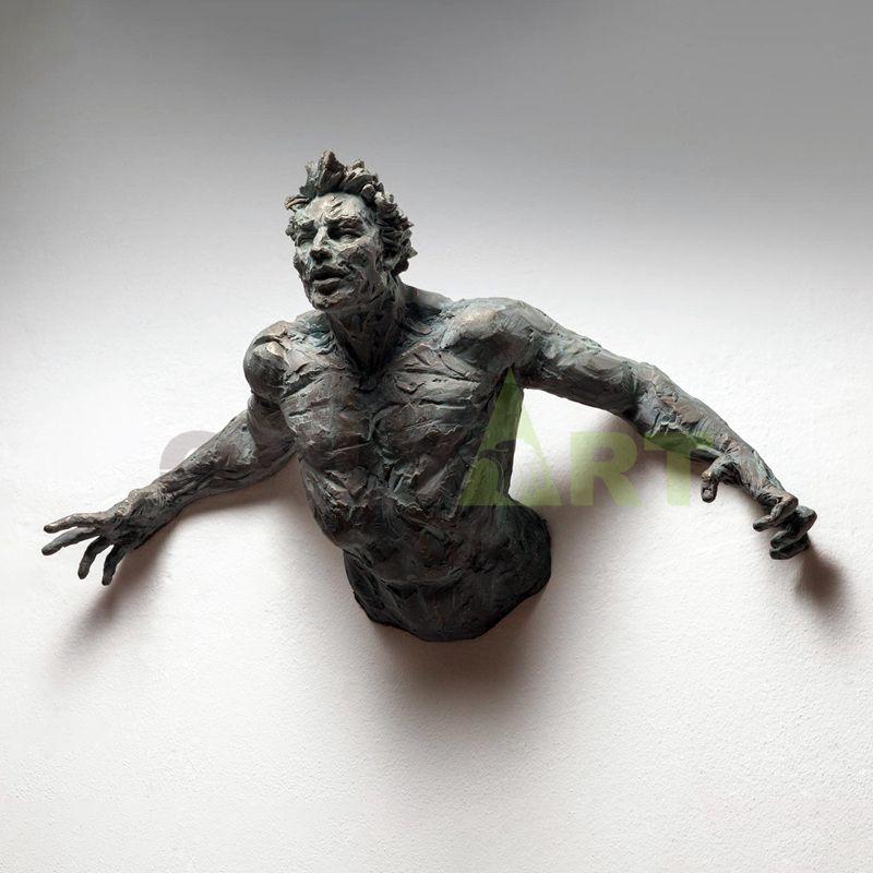 indoor life size art deco bronze man wall sculpture statue matteo pugliese sculpture for sale