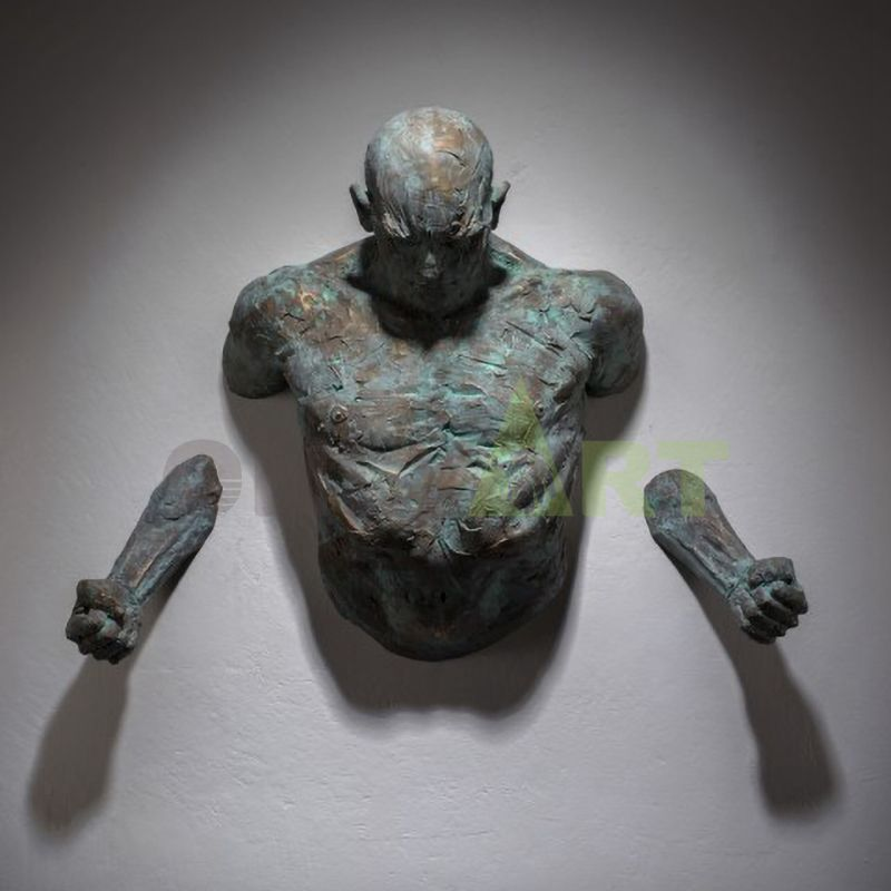 Wall Mounted Sculpture Matteo Pugliese SculptureMan On Wall Art Sculpture