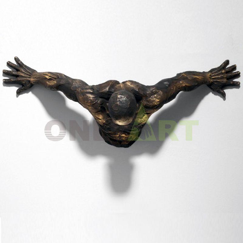 Bronze Matteo Pugliese Sculpture Reprodcution Man On Wall Art Sculpture