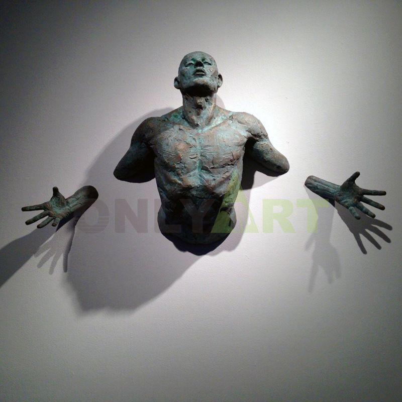 Wall Hanging Modern Matteo Pugliese Bronze Man Statue Sculpture