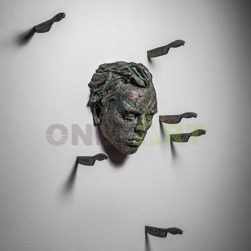 Decorative Wall Hanging Modern Matteo Pugliese Bronze Man Statue Sculpture