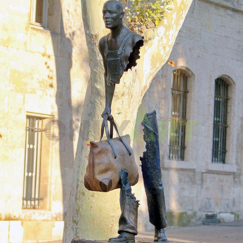 Brono Catrano bronze Traveler sculpture