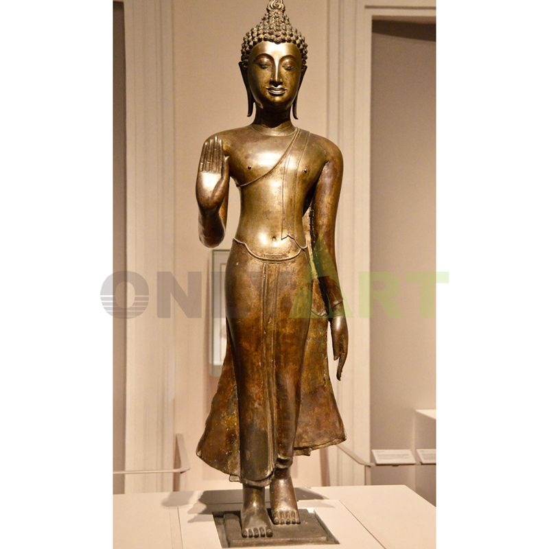 indoor antique polishing bronze standing buddha statue