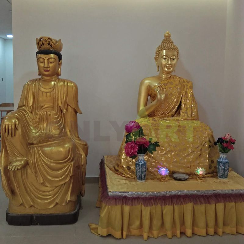 The religious sculpture of the statue of Buddha