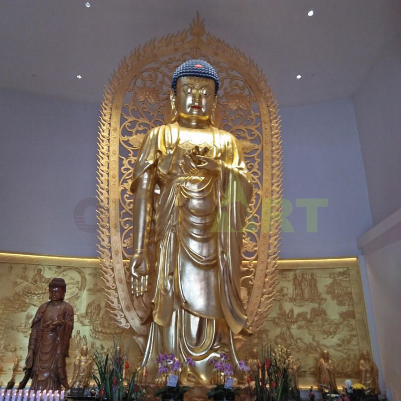 A giant Buddha statue in a Temple in Thailand