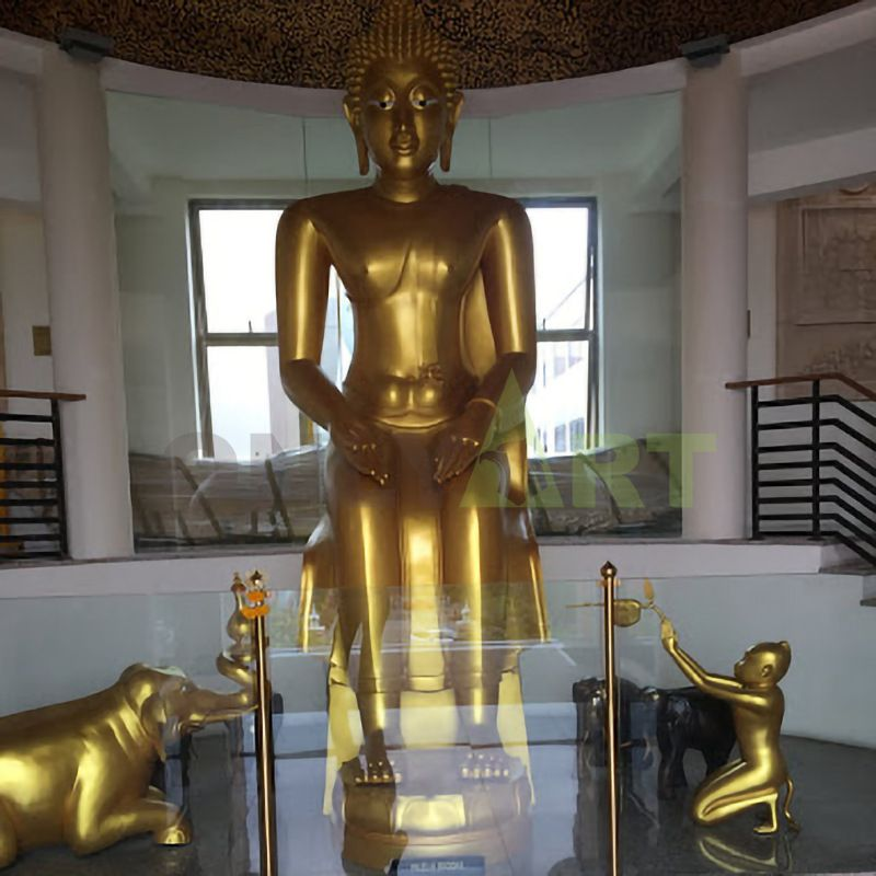 Giant Gilded Statues of Thai bronze stand for sale