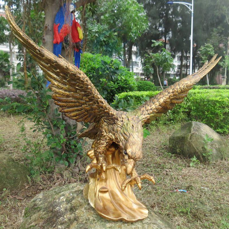 Large animal metal casting bronze eagle sculpture for exterior garden
