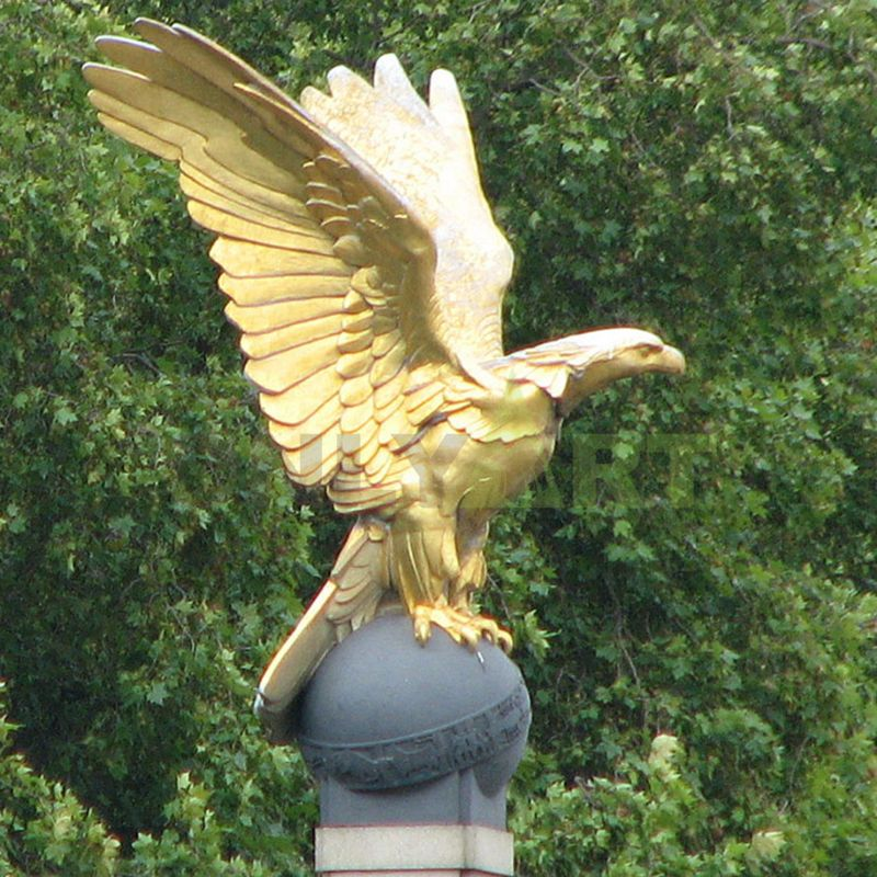 The golden eagle stood on a ball