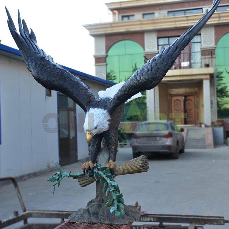antique style large cast bronze brass eagle statue sculpture