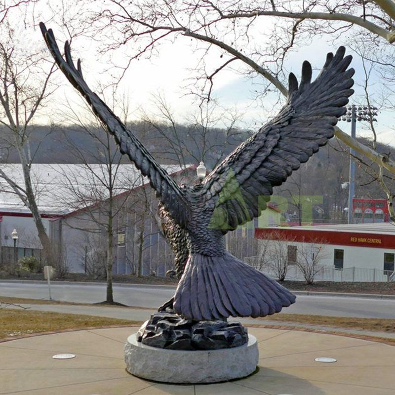 Custom Antique Bronze Metal Eagle Sculptures
