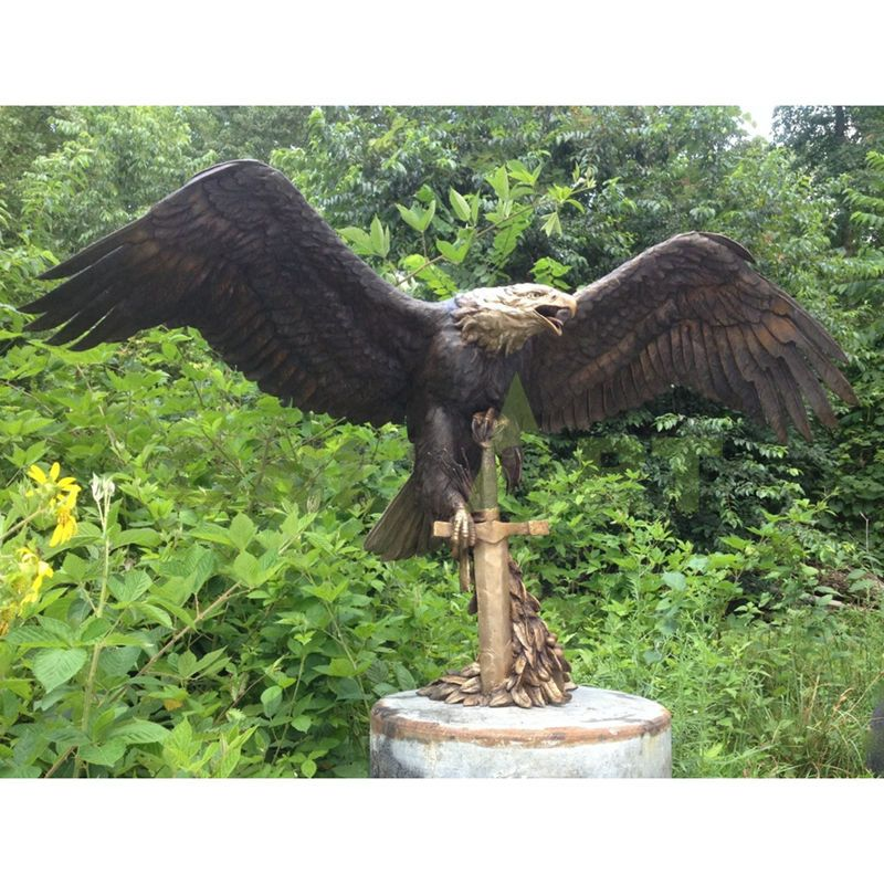 A religious sculpture of a winged eagle