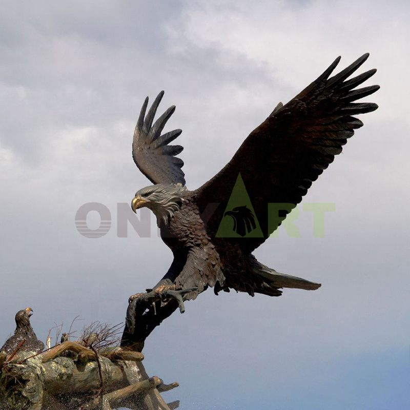 The fierce female eagle feeds her young