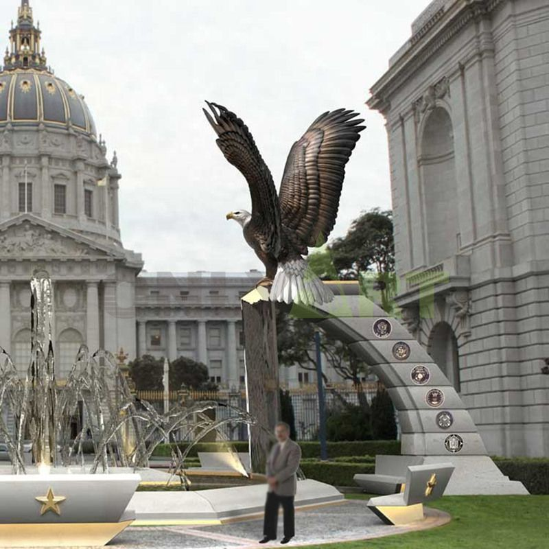 Outdoor bronze eagle sculpture can be used in the plaza, station, hotel front