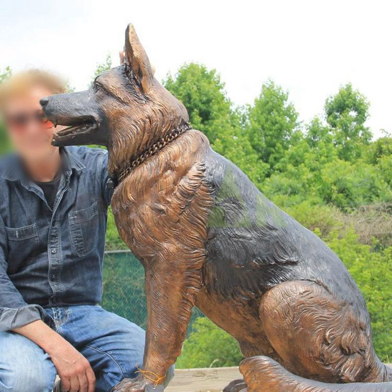 Full-size solid bronze Military Dog sculpture for sale
