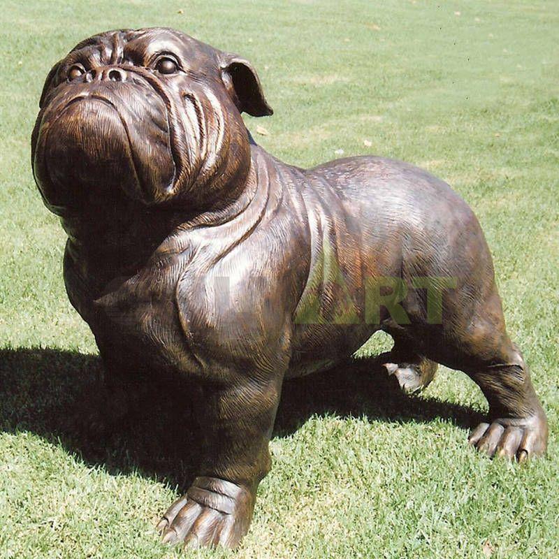 Custom-made small bronze lawn brown doggie statue for sale