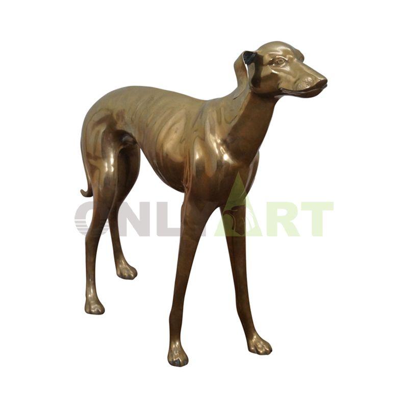 Standing dachshund model bronze sculpture