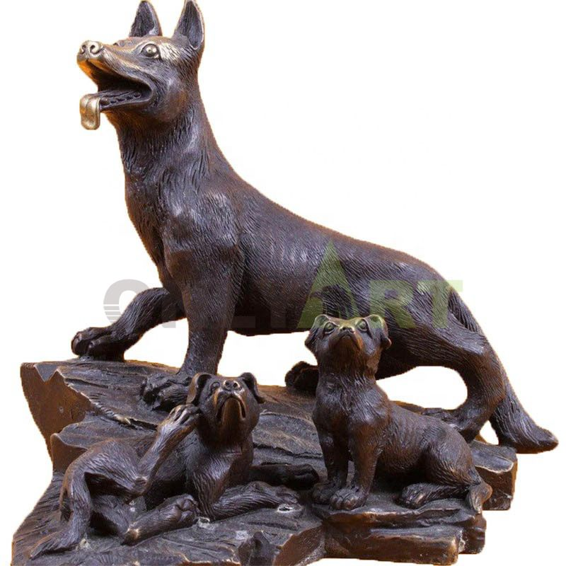 A custom bronze statue of a canine mother and her cubs