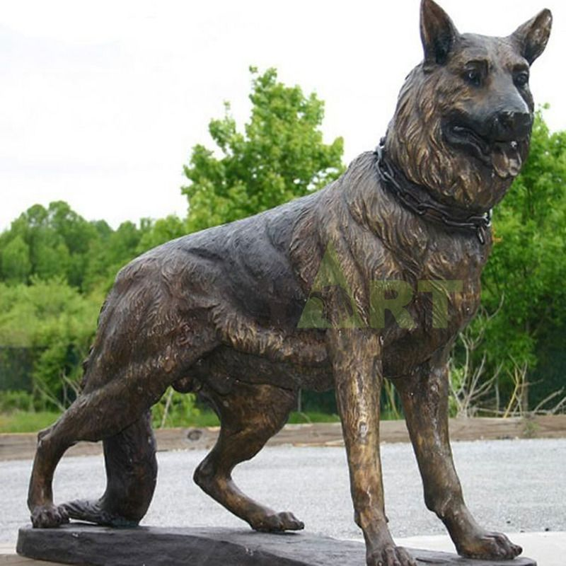Life Size Outdoor Military Bronze Soldier and Dog Sculpturefor Sale