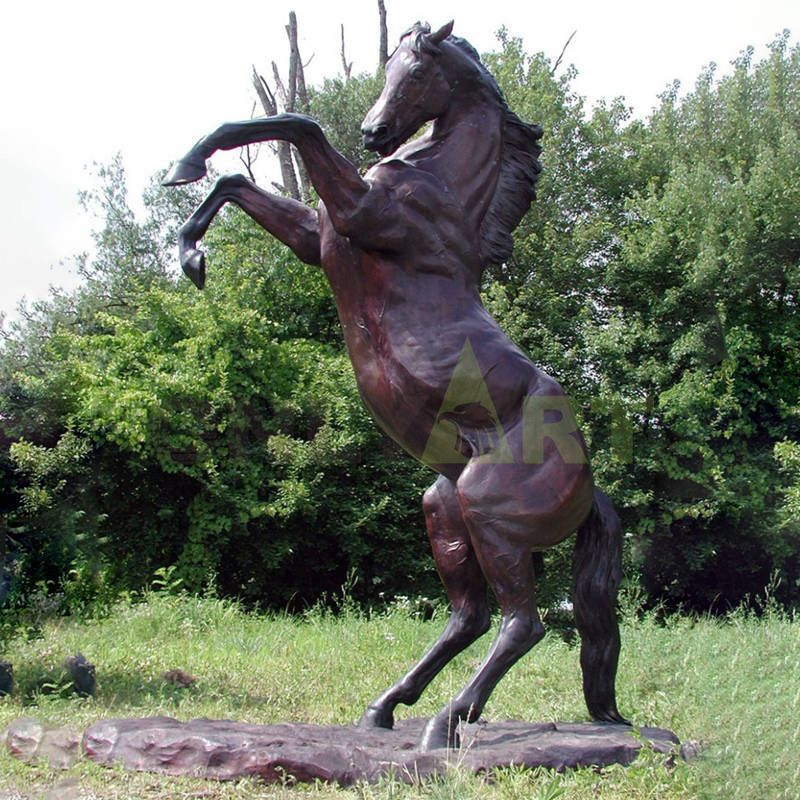 Outdoor Decoration Large Bronze Rearing Antique Horse Statue