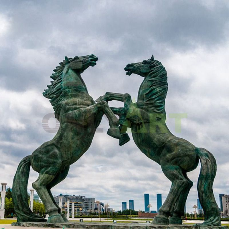 Life-size metal artefact decorated bronze horse statues for sale